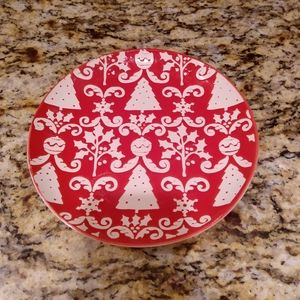 "7-1/4"" Red Damask Christmas Plate"